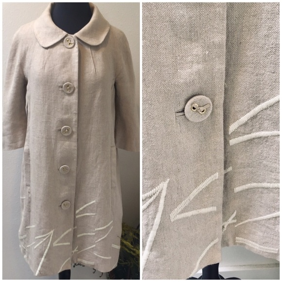Anthropologie Jackets & Blazers - ELEVENSES Anthropology Linen Embroidered Coat